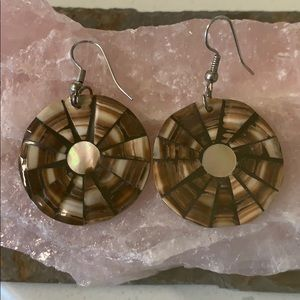 Brown and cream shell earrings